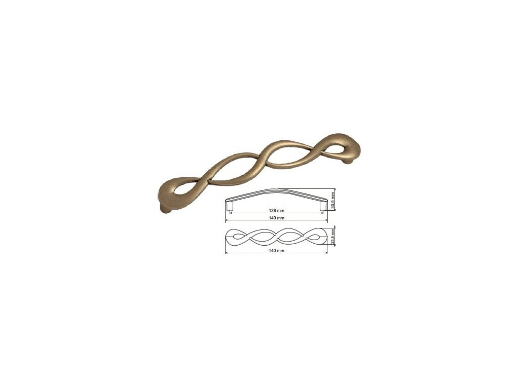 nábytková úchytka rustikální Olina starostříbro, 266128-S, rozteč 128mm