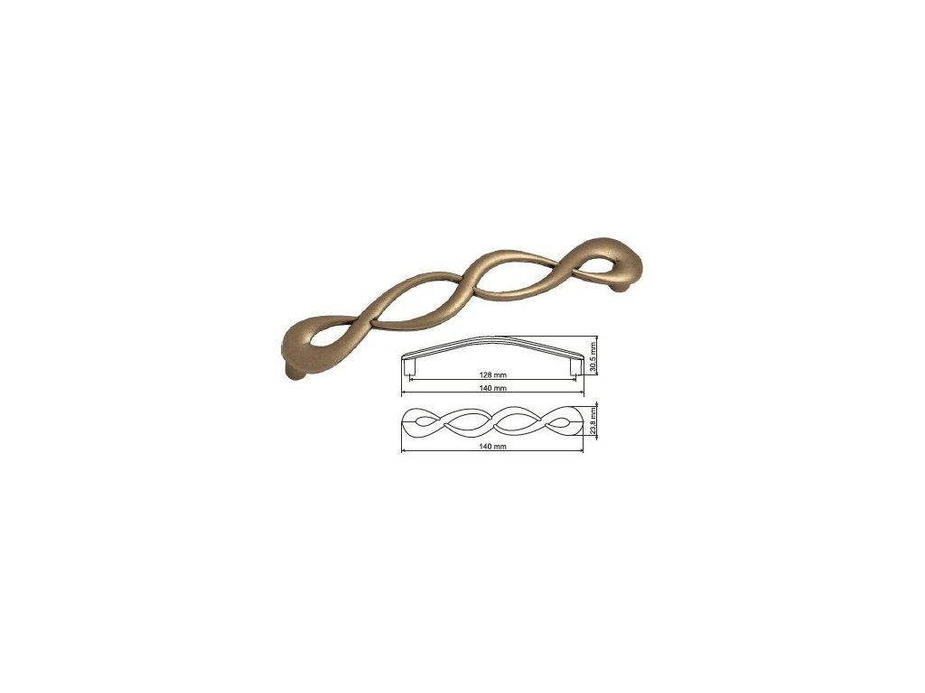 nábytková úchytka rustikální Olina staromosaz, 266128-Z, rozteč 128mm