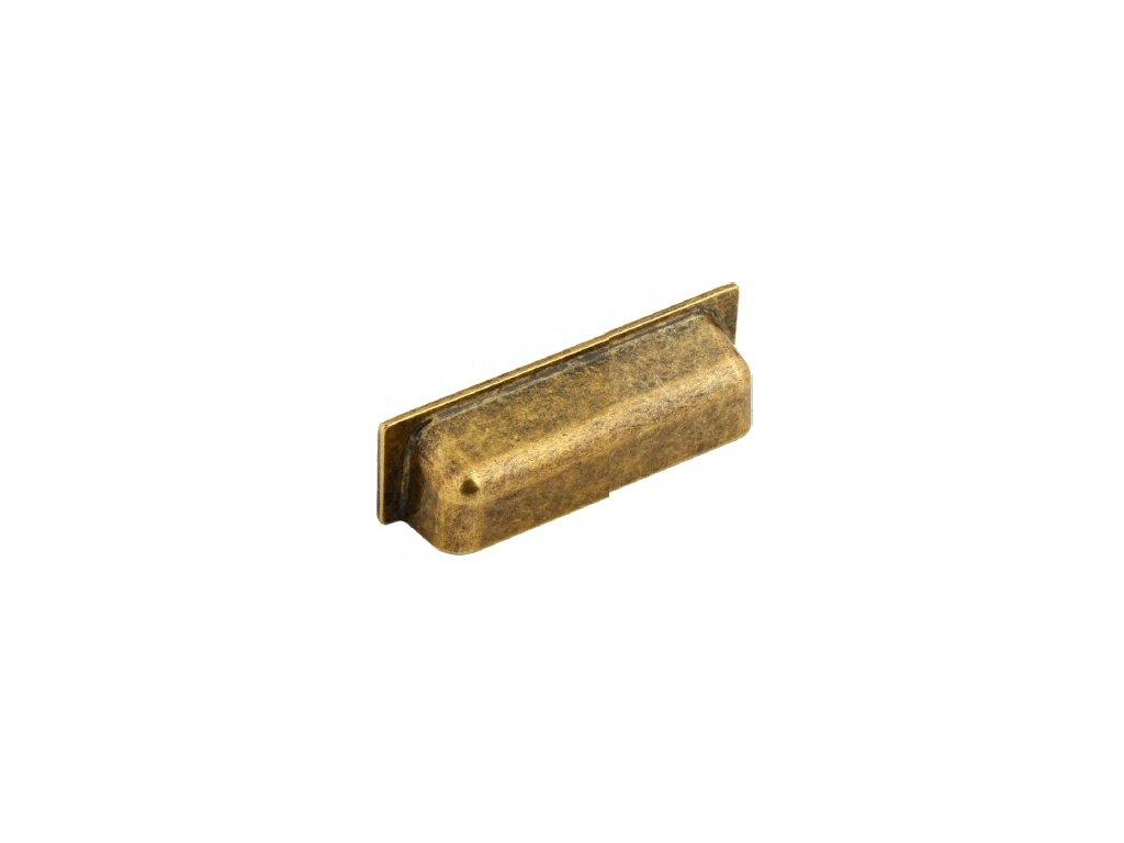 nábytková úchytka rustikální Luka staromosaz, R110128-Z, rozteč 128mm
