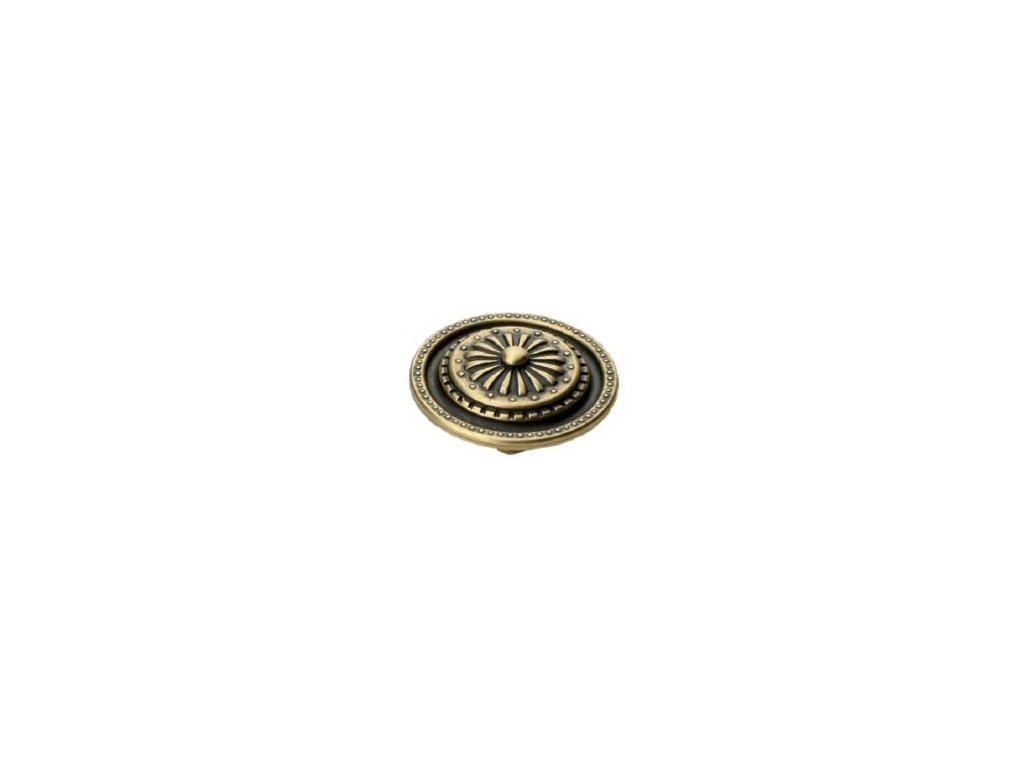 nábytková knopka rustikální Zara staromosaz, 113-Z, rozteč