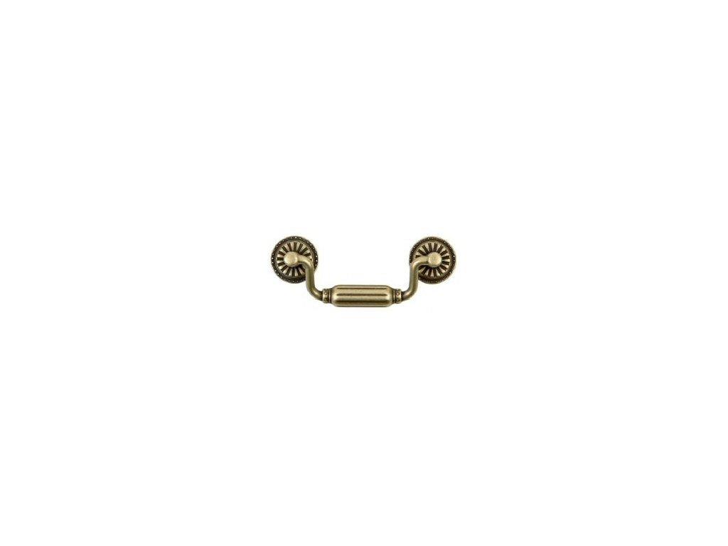nábytková úchytka rustikální Rota staromosaz, 1364-Z, rozteč 64mm