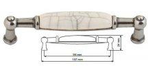 nábytková úchytka porcelánová Anežka starostříbro, 2196-4-S, rozteč 96mm