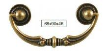 nábytková úchytka rustikální Sol staromosaz, 119-Z, rozteč 68mm