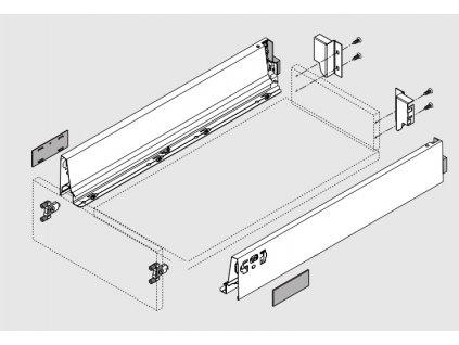 Blum výsuv Tandembox Antaro M/500mm, šedý, 30kg, 206031