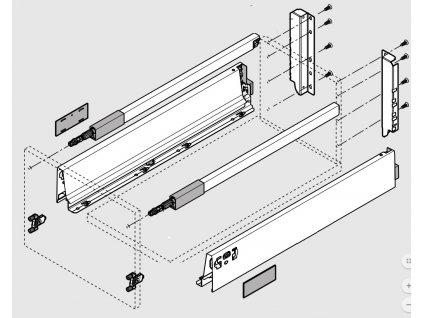 Blum výsuv Tandembox Antaro D/500mm, šedý, 30kg, set, 206044