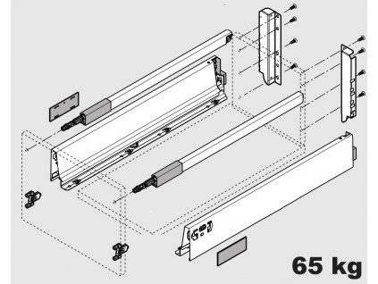 Blum výsuv Tandembox Antaro D/650mm, nerez, 65kg, 260601