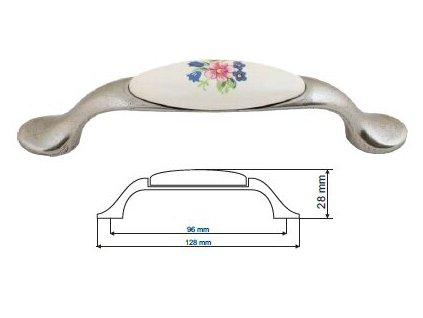 nábytková úchytka porcelánová Magda starostříbro, 1996-1-S, rozteč 96mm