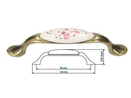 nábytková úchytka porcelánová Magda staromosaz, 1996-17-Z, rozteč 96mm