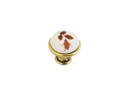 nábytková knopka porcelánová Magda staromosaz, 1901-2-Z, rozteč