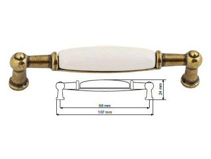 nábytková úchytka porcelánová Anežka staromosaz, 2196-0-Z, rozteč 96mm