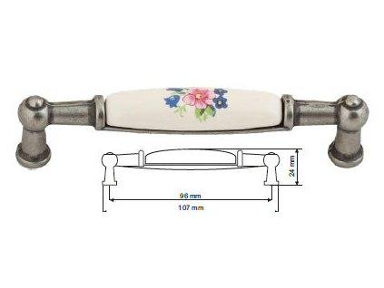 nábytková úchytka porcelánová Anežka starostříbro, 2196-1-S, rozteč 96mm