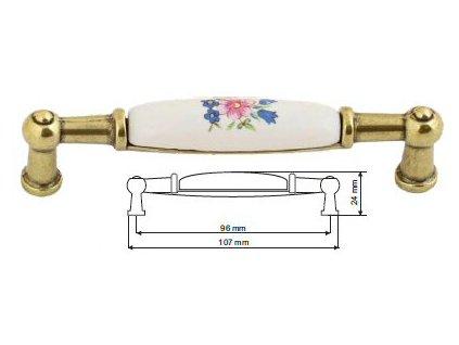 nábytková úchytka porcelánová Anežka staromosaz, 2196-1-Z, rozteč 96mm