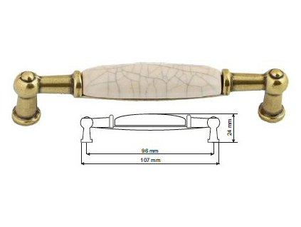 nábytková úchytka porcelánová Anežka staromosaz, 2196-4-Z, rozteč 96mm