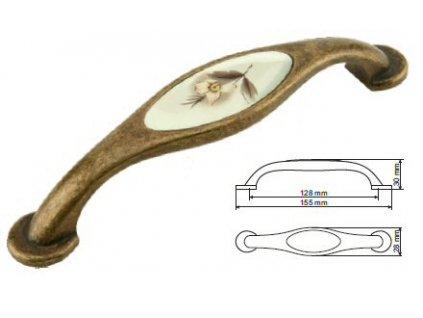 nábytková úchytka rustikální Ida staromosaz, 23128-Z, rozteč 128mm