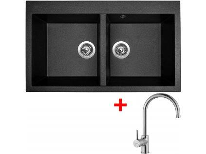 Sinks AMANDA 860 DUO Metalblack+VITALIA