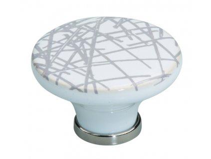 Tulip Nábytková knopka porcelánová Bosa chrom lesklý, bílý, čáry, 288054, rozteč