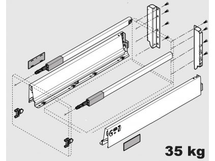 Blum výsuv Tandembox Antaro D/600mm, černý, 30kg, 340825