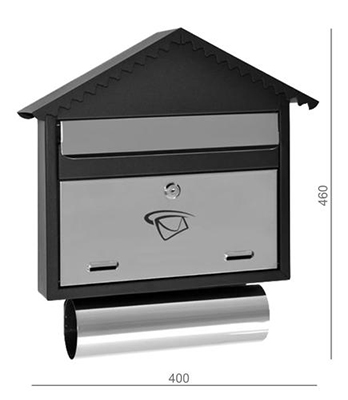 Poštovní schránka nerez - černá 400x460x75