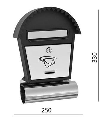 Poštovní schránka nerez - černá 250x350x50