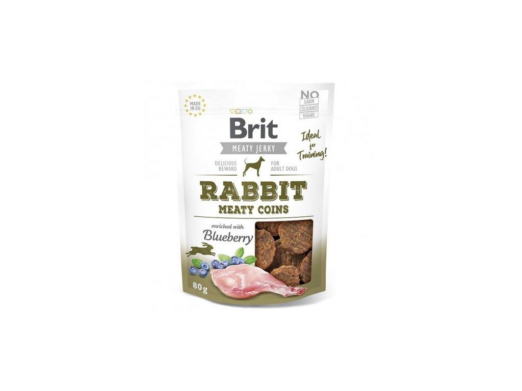 brit jerky rabbit meaty coins 80g