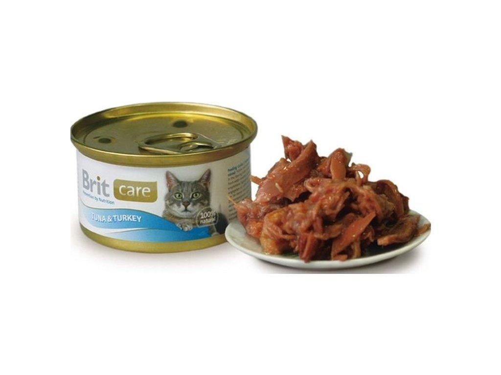 Brit Care Cat konzerva tuňák a krocan 80g