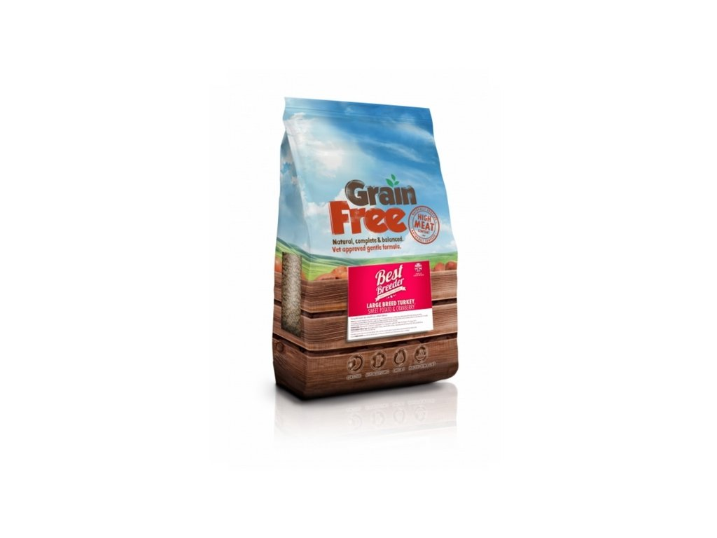 best breeder grain free large breed turkey sweet potato cranberry 2 kg
