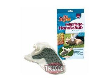 Rukavice vyčesávací koženka s gumou Trixie