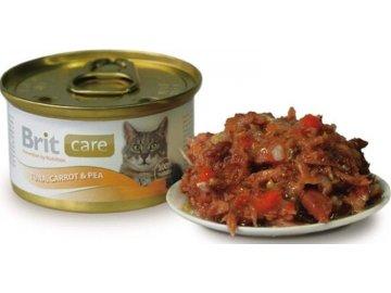 Brit Care Cat konzerva tuňák, mrkev a hrách 80g