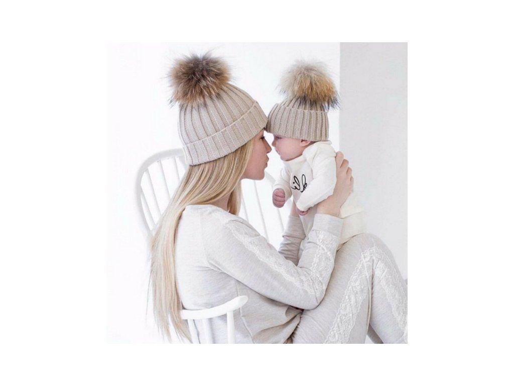 2 stejné kusy krásné zimní čepice pro maminku a miminko - vsevakci ... 8be91bf570