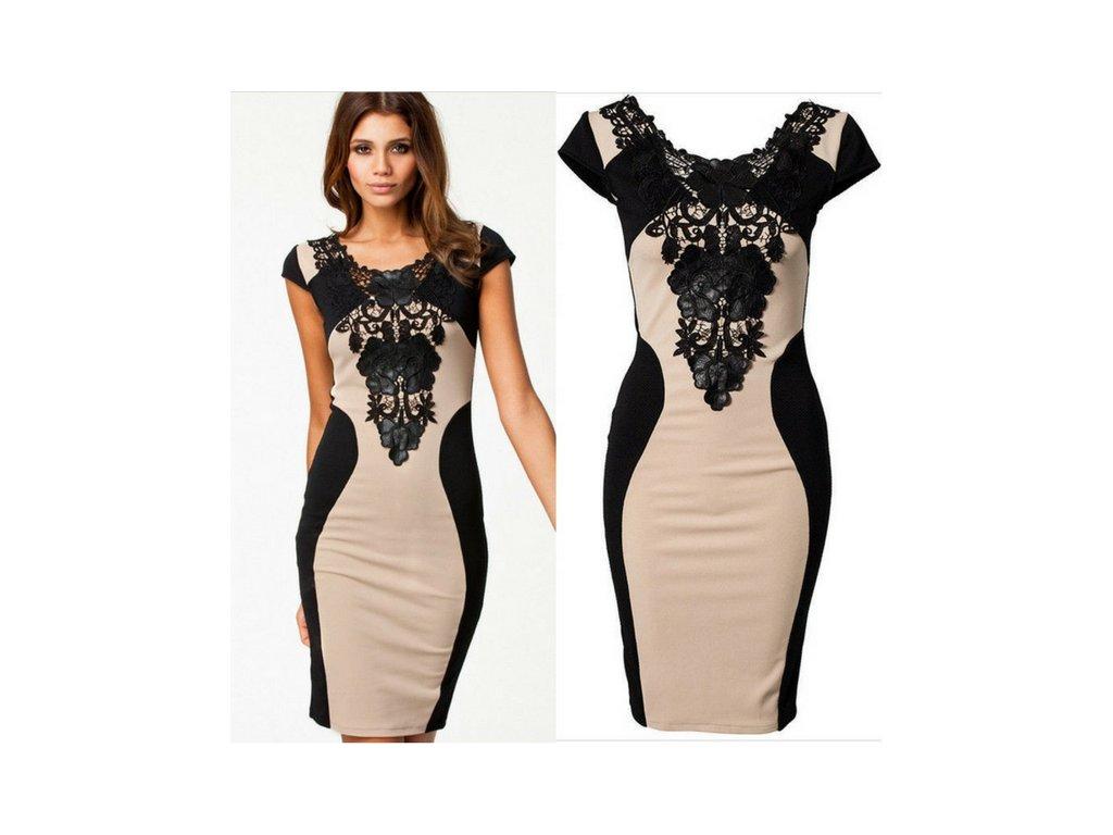 Elegantní dámské šaty s černou krajkou - vsevakci.cz - Poštovné ... fdb0fc2e05