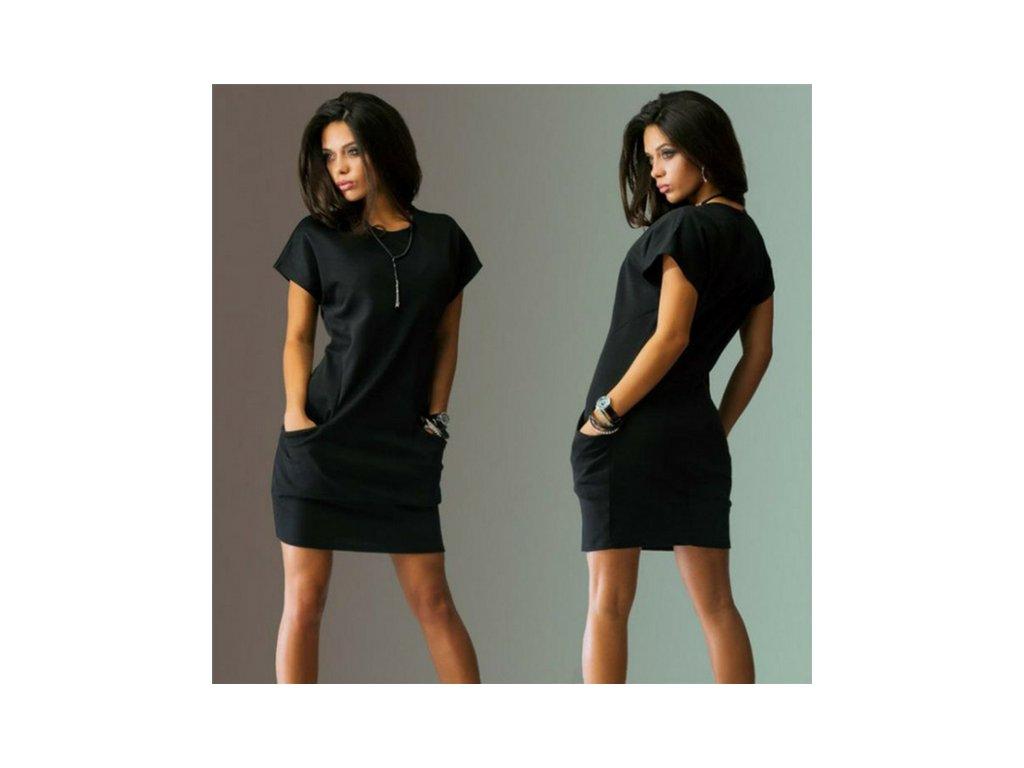 Dámské pohodlné mini šaty s krátkým rukávem černé - vsevakci.cz ... e40c96e1a5a