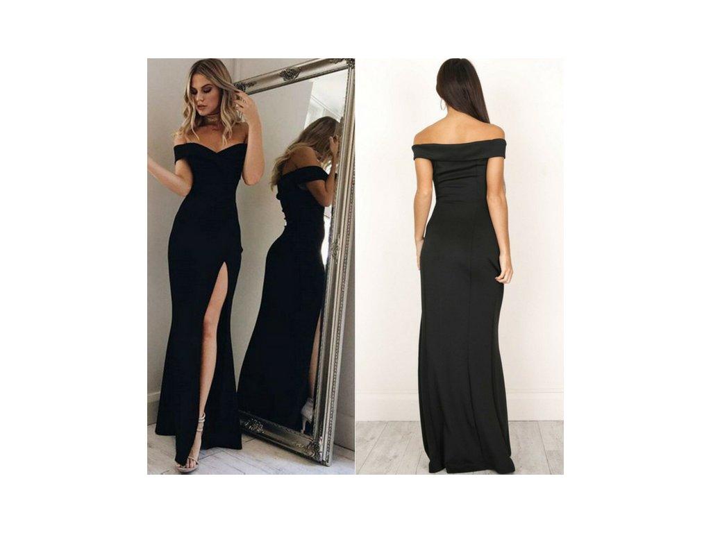 Dlouhé společenské šaty se spadlými rameny a vysokým rozparkem černé ... cd3984e61d
