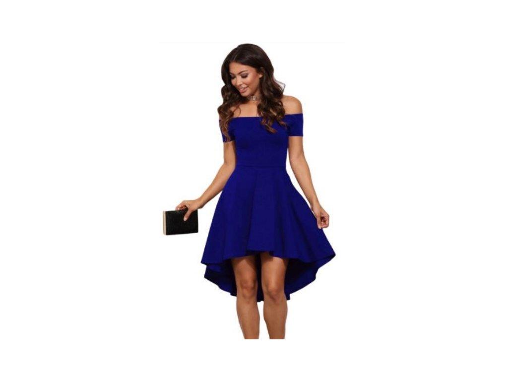 cc352277317a Krátké společenské šaty se skládanou sukní a odhalenými rameny ...