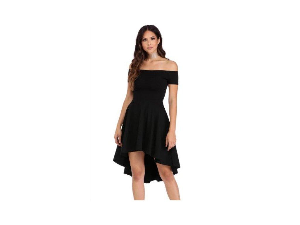 655e641ac46 Krátké společenské šaty se skládanou sukní a odhalenými rameny ...