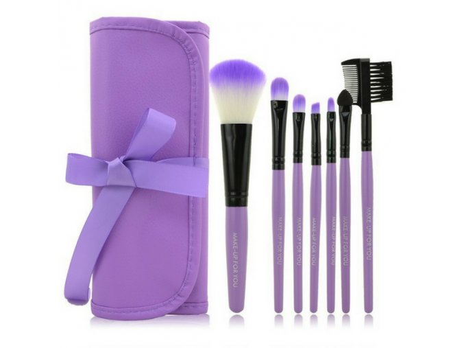 Set štětců make up 7 ks + pouzdro - Purple