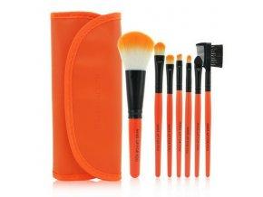Set štětců make up 7 ks + pouzdro - Orange