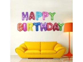 Balónkový nápis HAPPY BIRTHDAY - Multicolor - 40 cm
