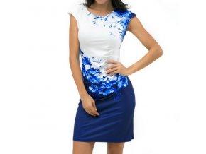 Dámské luxusní slim modré šaty s motivem květin