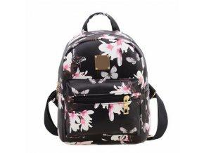 Dámský květinový batoh - Černý