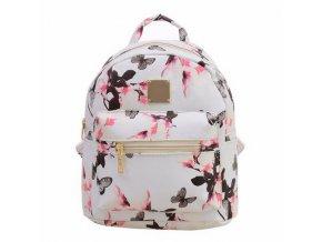 Dámský květinový batoh - Bílý