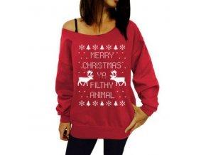 Dámská vánoční mikina Merry Christmas červená