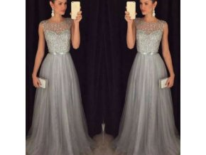 Dlouhé stříbrno-šedé společenské šaty