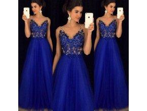 Luxusní plesové dlouhé šaty královsky modré