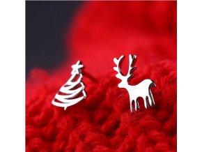 Vánoční náušnice stromeček + sob