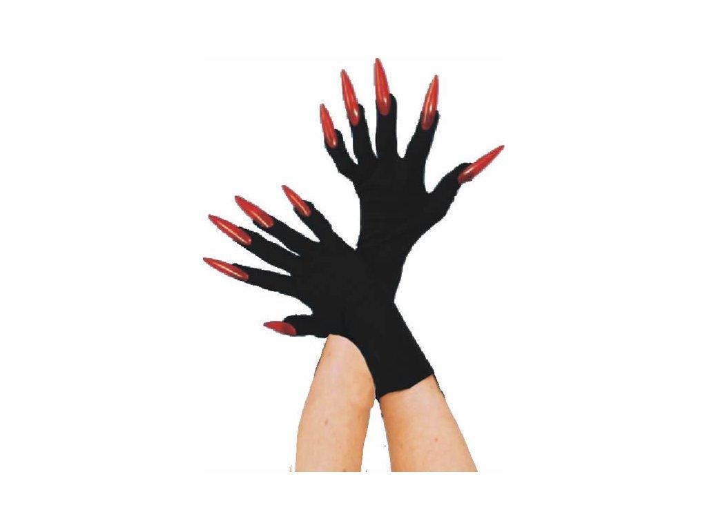 Rukavice - červené nehty
