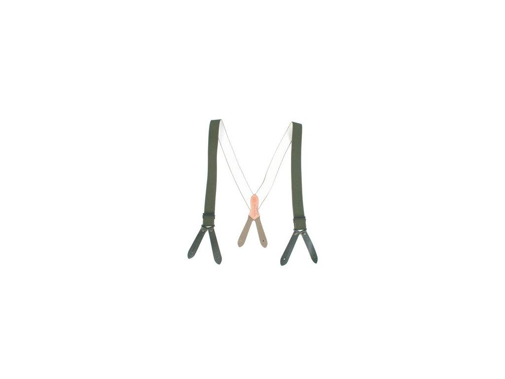 ARMY šle (kšandy) s oky na knoflíky - oliv