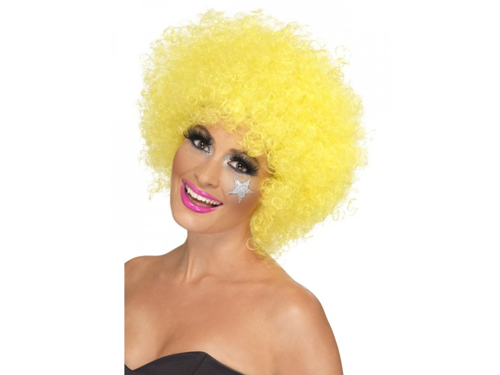 Paruka - Funky Afro - žlutá