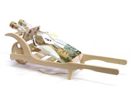 Dřevěný trakař 2dcl slivovice+2 dcl hruškovice