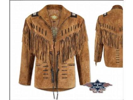 Westernová kožená bunda BUFFALO - hnědá