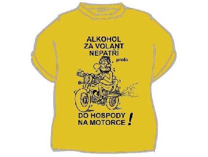 Alkohol za volant nepatří - ČERNÉ TRIKO, žlutý text a obrázek.